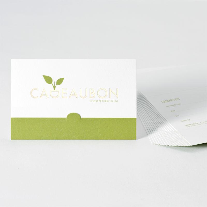 Product Cadeaubon met natuurlijke look en goudfolie