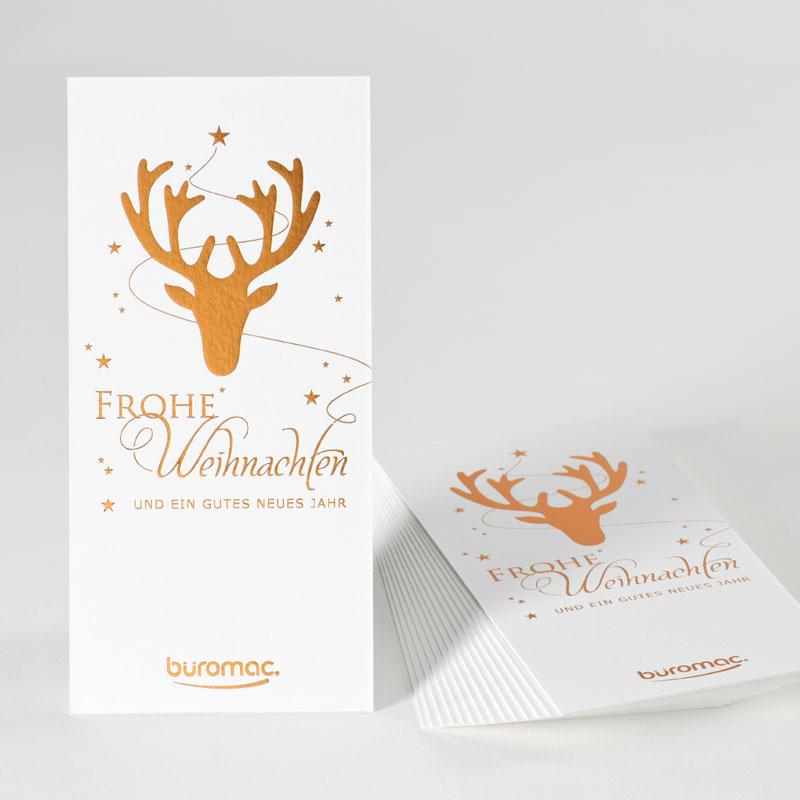 Product Kerst- en nieuwjaarskaart met rendier in koperfolie