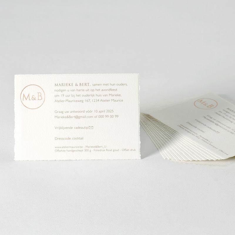 Product Uitnodigingskaartje handgeschept papier