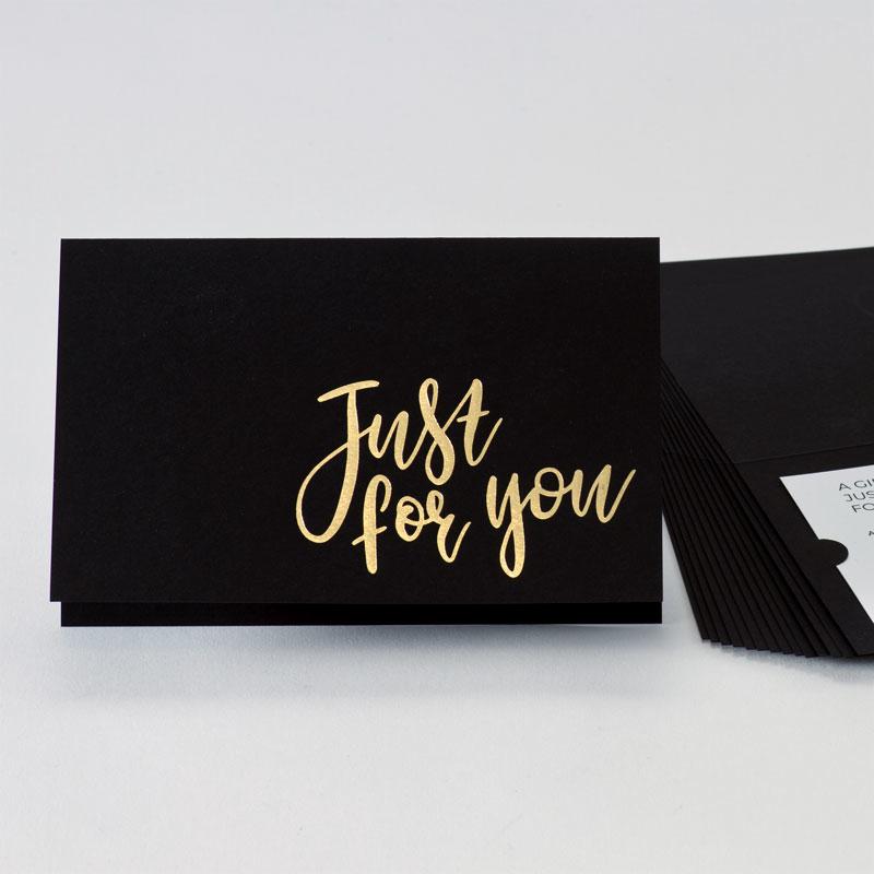 Cadeaubon in stijlvol zwart met goudfolie