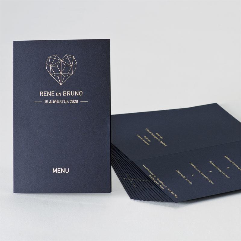 Dubbele menukaart in dark blue met goudfolie