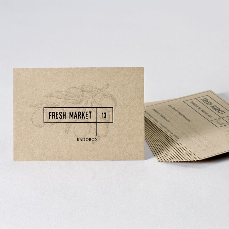 Eco cadeaubon met illustratie en zwarte folie