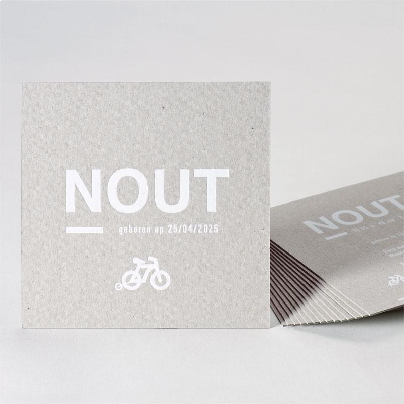 Eco geboortekaart witte folie met fiets