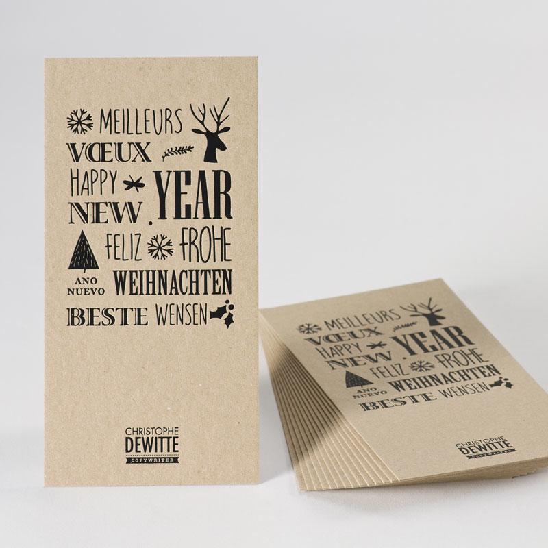 Eco nieuwjaarskaart met symbolen en zwarte folie