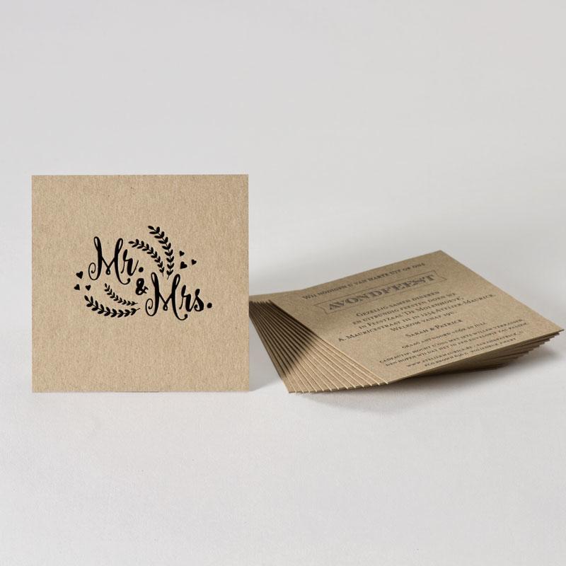 Eco receptiekaartje Mr & Mrs met zwarte folie