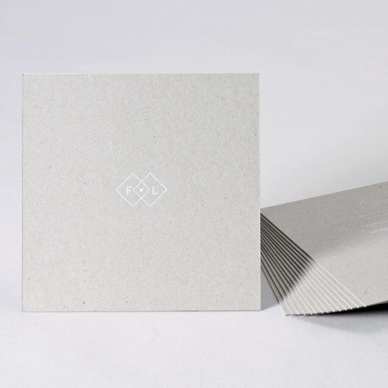 Eco trouwkaart met initialen naam en witte folie