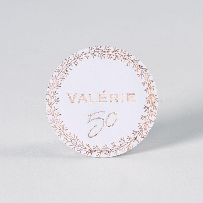 Elegante sticker met rosé goudfolie