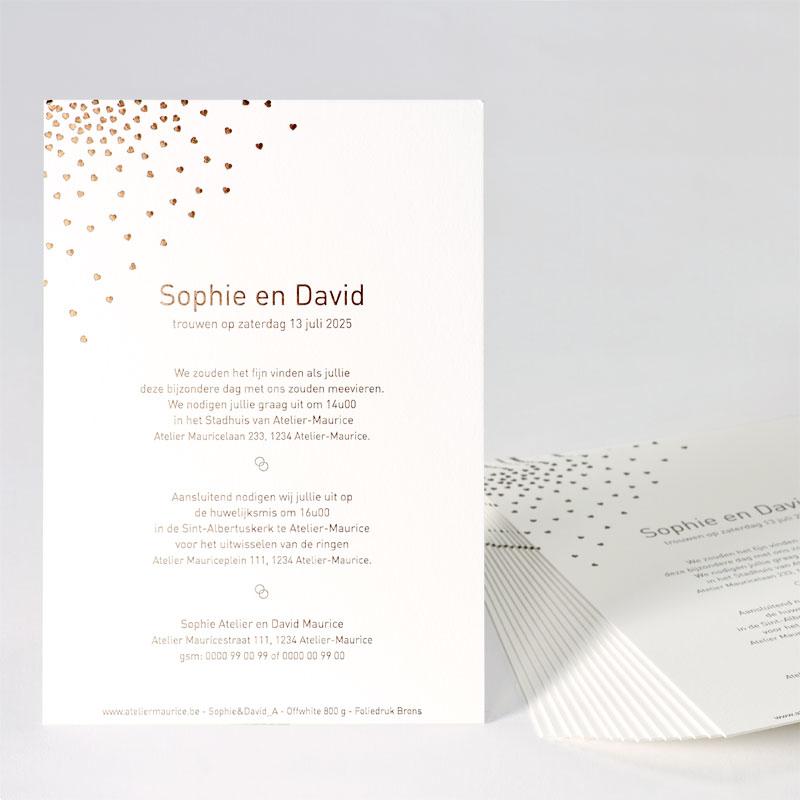 Elegante trouwkaart met hartjes in bronsfolie