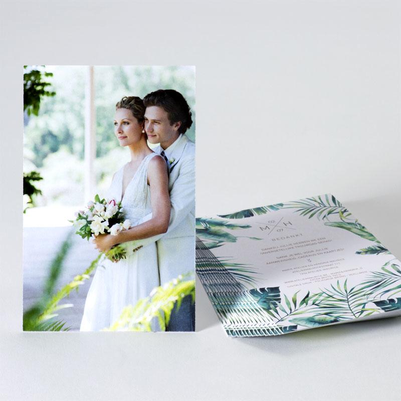Foto bedankkaart voor huwelijk met planten en bronsfolie