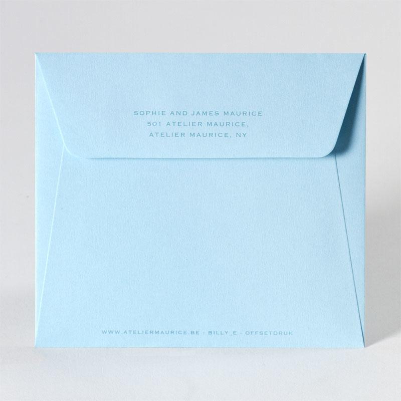Gepersonaliseerde lichtblauwe enveloppe (14,0 x 12,5 cm)