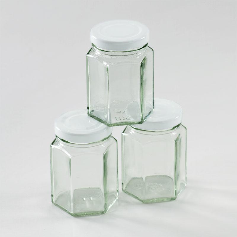 Glazen zeshoekig bokaaltje voor doopsuiker