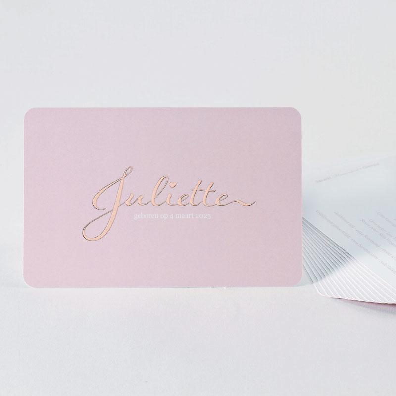 Feeëriek geboortekaartje met rosé goudfolie