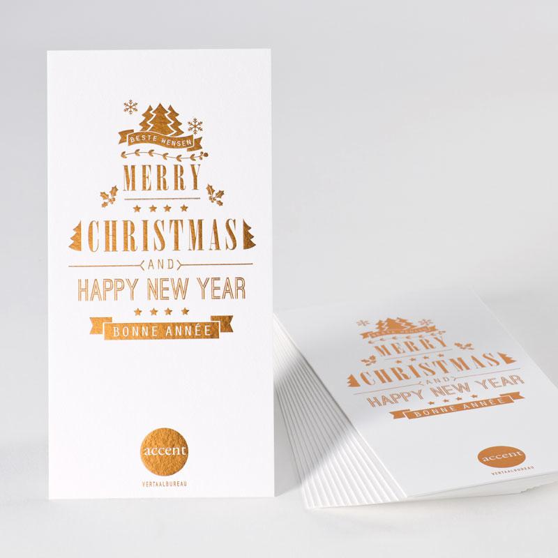 Kerst- en nieuwjaarskaart met koperfolie