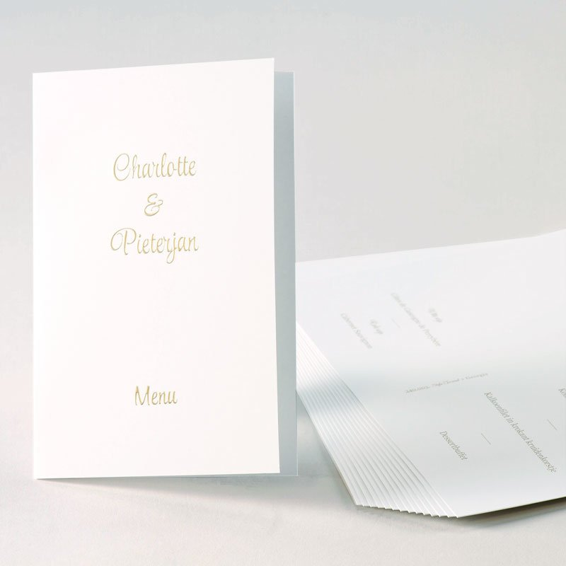 Luxe menukaart met digitale foliedruk