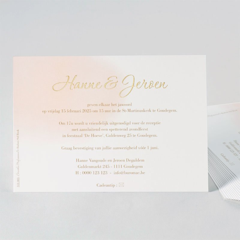 Luxueuze huwelijkskaart met digitale goudfoliedruk