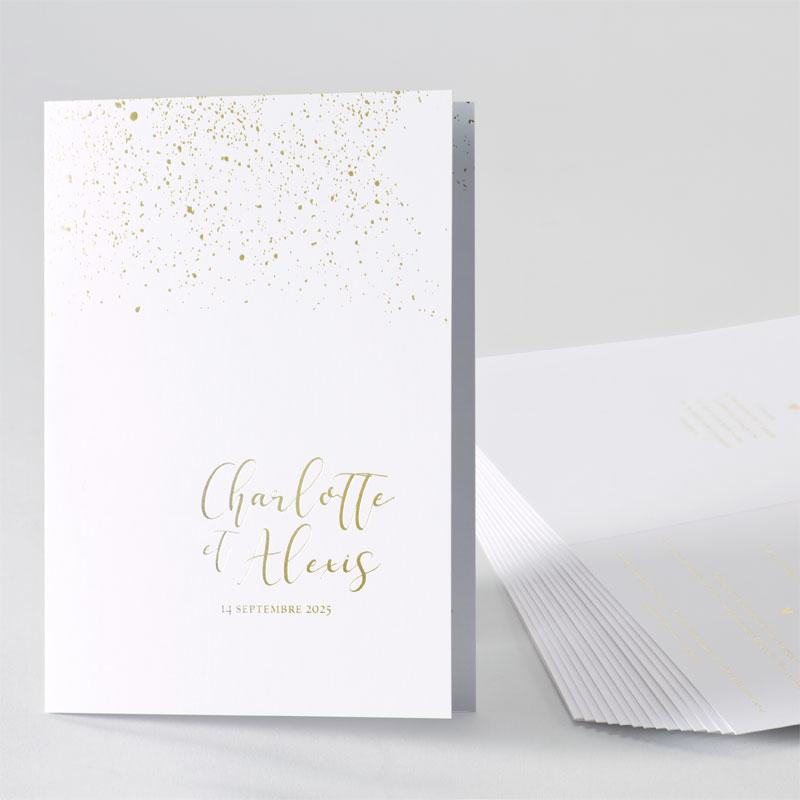Romantische trouwkaart met confetti in goudfolie