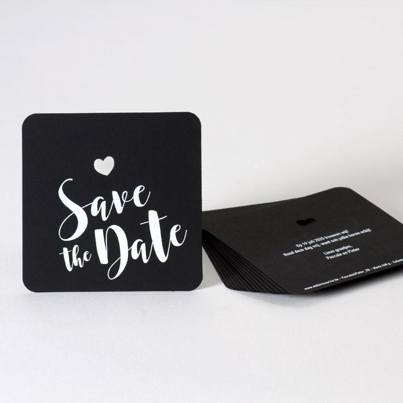 Trendy Save the date kaart met witte folie en ronde hoeken