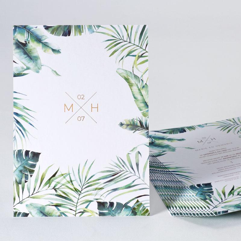 Trouwkaart met planten en bronsfolie