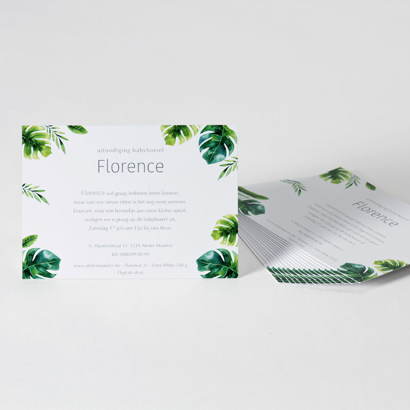 Uitnodiging Babyborrel met planten