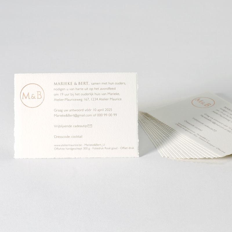 Uitnodigingskaartje handgeschept papier