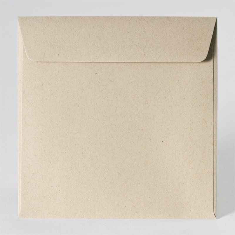 Vierkante enveloppe in eco light brown (17,0 x 17,0 cm)