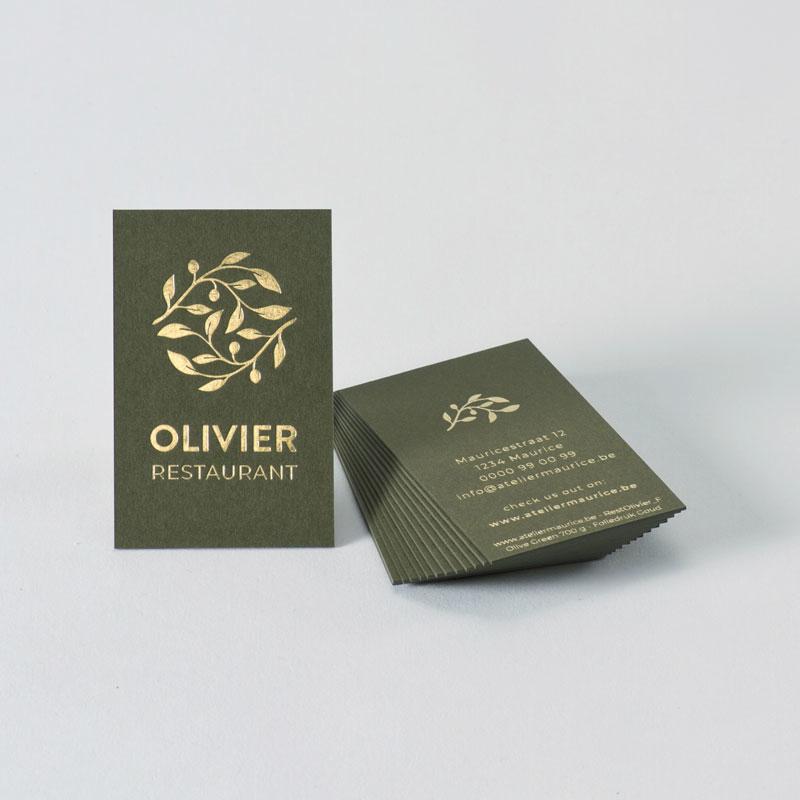 Visitekaartje in mooi groen Gmund papier